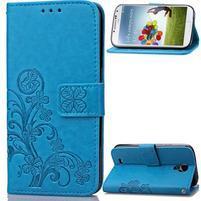 Štvorlístok PU kožené puzdro na Samsung Galaxy S4 Mini - modré