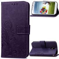Štvorlístok PU kožené puzdro na Samsung Galaxy S4 Mini - fialové