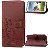 Štvorlístok PU kožené puzdro na Samsung Galaxy S4 Mini - hnedé