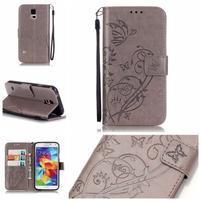 Motýllie PU kožené puzdro na Samsung Galaxy S5 - sivé
