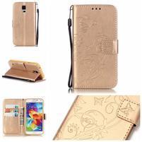Motýlie PU kožené puzdro na Samsung Galaxy S5 - zlaté