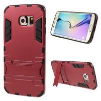 Defender odolný obal so stojančekom na Samsung Galaxy S6 Edge - červený