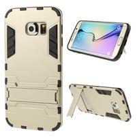 Defender odolný obal so stojančekom na Samsung Galaxy S6 Edge - zlatý