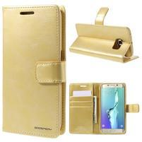 BlueMoon PU kožené puzdro na Samsung Galaxy S6 Edge - zlaté