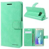 BlueMoon PU kožené puzdro na Samsung Galaxy S6 Edge - azúrové