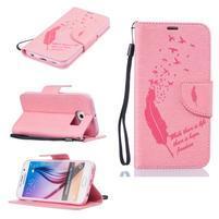 Fly PU kožené zapínacie puzdro na Samsung Galaxy S6 - ružové