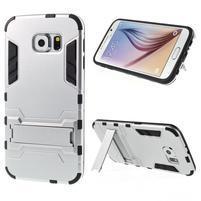 Defender odolný obal so stojančekom na Samsung Galaxy S6 - strieborný