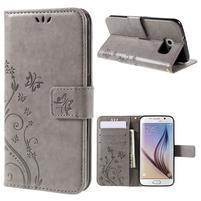 Butterfly PU kožené zapínacie puzdro na Samsung Galaxy S6 - sivé