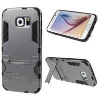 Defender odolný obal so stojančekom na Samsung Galaxy S6 - sivý