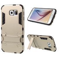 Defender odolný obal so stojančekom na Samsung Galaxy S6 - zlatý