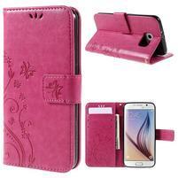 Butterfly PU kožené zapínacie puzdro na Samsung Galaxy S6 - rose