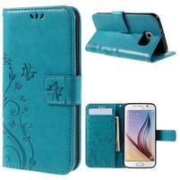 Butterfly PU kožené zapínacie puzdro na Samsung Galaxy S6 - modré