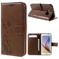 Butterfly PU kožené zapínacie puzdro na Samsung Galaxy S6 - hnedé