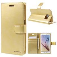 BlueMoon PU kožené puzdro na Samsung Galaxy S6 - zlaté