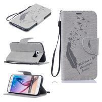 Fly PU kožené zapínacie puzdro na Samsung Galaxy S6 - sivé