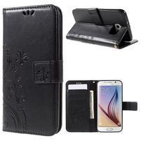 Butterfly PU kožené zapínacie puzdro na Samsung Galaxy S6 - čierne
