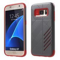 Hybridní odolný obal 2v1 pre mobil Samsung Galaxy S7 - šedý/červený