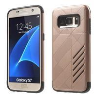 Hybridní odolný obal 2v1 pre mobil Samsung Galaxy S7 - zlatoružový