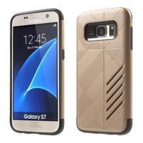 Hybridní odolný obal 2v1 pre mobil Samsung Galaxy S7 - zlatý