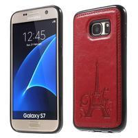 Cloth gélový obal s PU koženými zády pre  Samsung Galaxy S7 - červený