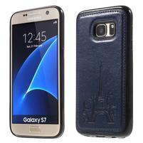 Cloth gélový obal s PU koženými zády pre  Samsung Galaxy S7 - tmavomodrý