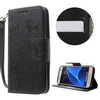 Butterfly PU kožené puzdro pre mobil Samsung Galaxy S7 - čierné