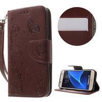 Butterfly PU kožené puzdro pre mobil Samsung Galaxy S7 - hnedé