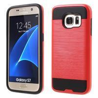 Brush odolný hybridný obal 2v1 pre Samsung Galaxy S7 - červený