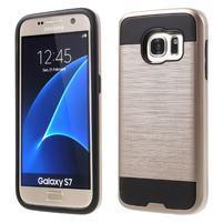 Brush odolný hybridný obal 2v1 pre Samsung Galaxy S7 - ružovozlatý