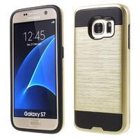 Brush odolný hybridný obal 2v1 pre Samsung Galaxy S7 - zlatý