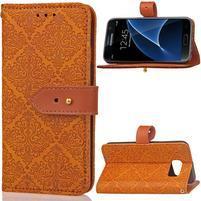 RichStar PU kožené puzdro pre mobil Samsung Galaxy S7 - oranžovohnedé