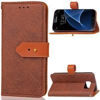 RichStar PU kožené puzdro pre mobil Samsung Galaxy S7 - hnedé