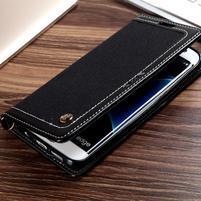 Jeans PU kožené/textilní puzdro pre mobil Samsung Galaxy S7 - čierne