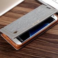 Jeans PU kožené/textilní puzdro pre mobil Samsung Galaxy S7 - šedé