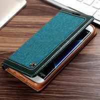 Jeans PU kožené/textilní puzdro pre mobil Samsung Galaxy S7 - zelenomodré