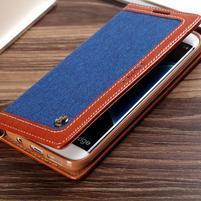Jeans PU kožené/textilní puzdro pre mobil Samsung Galaxy S7 - modré