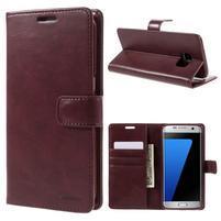 BlueMoon PU kožené puzdro na Samsung Galaxy S7 Edge - vínové