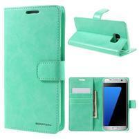 BlueMoon PU kožené puzdro na Samsung Galaxy S7 Edge - cyan