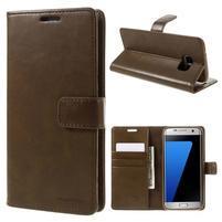 BlueMoon PU kožené puzdro na Samsung Galaxy S7 Edge - hnedé
