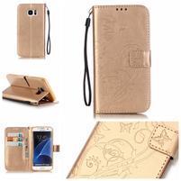 Motýlie PU kožené puzdro na Samsung Galaxy S7 Edge - zlaté