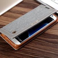 Retro Jeans textilné/PU kožené puzdro na Samsung Galaxy S7 Edge - sivé