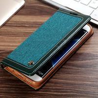 Retro Jeans textilné/PU kožené puzdro na Samsung Galaxy S7 Edge - zelené