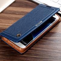 Retro Jeans textilné/PU kožené puzdro na Samsung Galaxy S7 Edge - modré