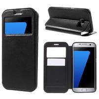 Noble Pu kožené puzdro s okienkom na Samsung Galaxy S7 Edge - čierne