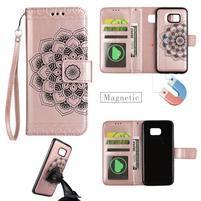 Mandala PU kožené puzdro na Samsung Galaxy S7 Edge - ružovozlaté
