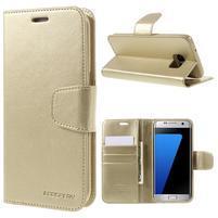 Mercury PU kožené puzdro na mobil Samsung Galaxy S7 Edge - zlaté