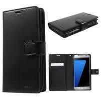 DiaryCase PU kožené puzdro s priehradkami na Samsung Galaxy S7 Edge - čierne