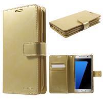DiaryCase PU kožené puzdro s priehradkami na Samsung Galaxy S7 Edge - zlaté