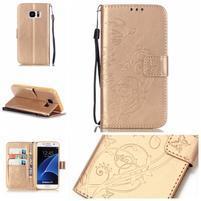 Motýlie PU kožené puzdro na Samsung Galaxy S7 - zlaté