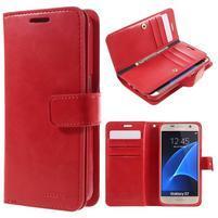 DiaryCase PU kožené puzdro s priehradkami na Samsung Galaxy S7 - červené